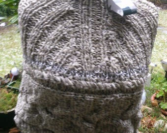 Short poncho, grey gradient, Gr. 34-36, XS, UK 8 -10, US 6-8, with large braid