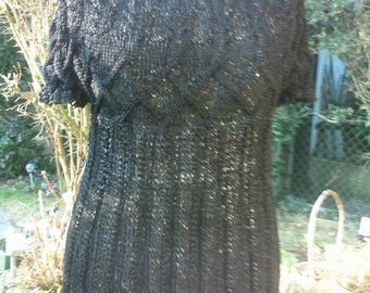 Knit tunic, black, with short arm, Gr. 40-42, M, US 12-14, UK 14-16