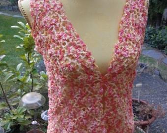 Crochet Vest Yellow-orange, size 36-38 (s), UK 10-12, US 8-10