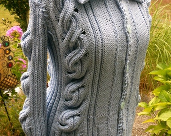 Cardigan in the cabled ribs, light-blue, size 40-42 (L)