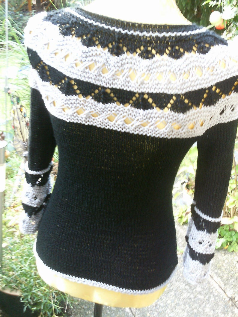 Knitted sweater with round pass black and light grey size 36-38 UK 10-12 S US 8-10