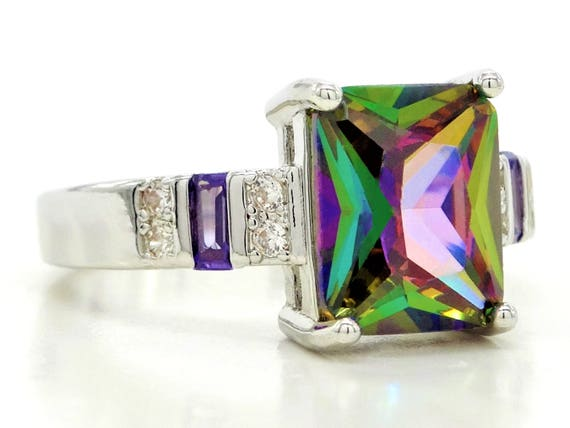multicolored ring Multicolored baguette gems ring made of genuine 925 sterling silver black jewelry box purple gift bag different colors