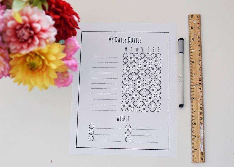 Simple Kids Chore Chart Weekly and Daily Duties, Custom Chore Chart, Kids  Behavior Chart, Contribution Chart, Personalized