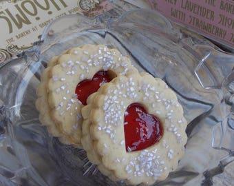 Linzer Cookies Honey Lavender Shortbread Cookies with Strawberry Jam ~ Cookie Gift Box ~ Valentine's Day Cookies ~ Wedding