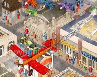 Pencil Town. A Giclee Limited edition artprint.