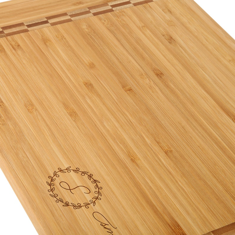 Delicate Floral Monogrammed Cutting Board for Anniversaries and Weddings