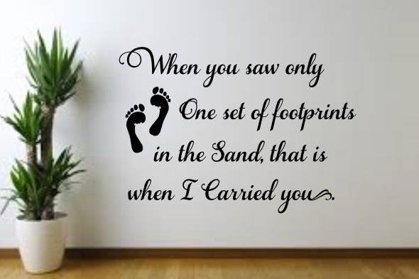 Footprints in the Sand vinyl decal, Wall Decal, Wall Sign, Home ...
