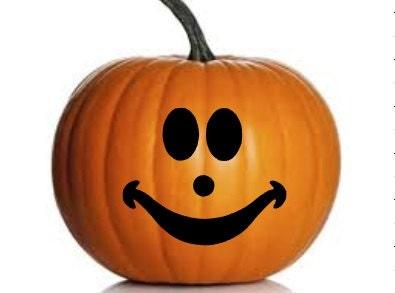 Set Of 7 Pumpkin Jack O Lantern Faces Vinyl Decals For Halloween