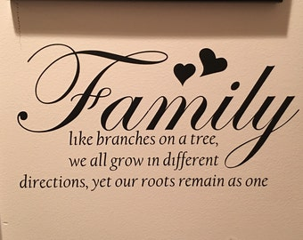 Family Like Branches on a Tree vinyl decal, Wall Decal, Wall Sign, Home Decor, Home Decal, Family Decal, Wall Mural, Family Wall Decal