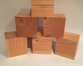 """Set of 10 - 3"""" Wooden Crafting Blocks, 3""""x3"""", 3"""" Cube, Crafting Supplies, Square block, Square Cube, Hand Made"""