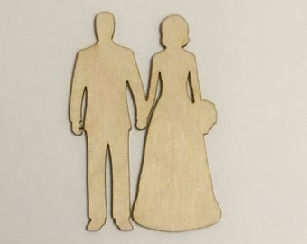 """Laser Cut Bride and Groom, Up to 16"""", Multiple Thickness,  Unfinished Crafting Supply, A169, Crafting Wedding"""