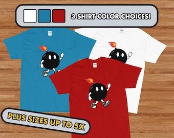 Cartoon Bomb, Boom Guy, Short Sleeve T-Shirt, Three Colors Choices in sizes S - 5x!, Cartoon, Hot Headed, Short Fuse, Bowling Ball Boom, EOD