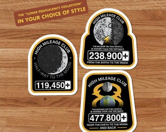 High Mileage Club Stickers, Car Decal, Lunar Equivalency Collection, To The Moon and Back, High Mileage Stickers