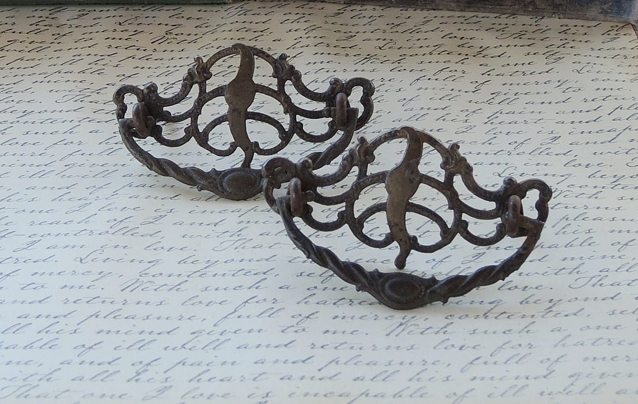 Victorian Ornate Metal Drawer Pulls Set of 2 Handles Decorative ...