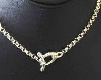 Vintage Sterling Rolo Chain w/Fancy Toggle, 18""