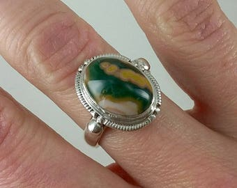 Vintage Agate Cabochon Sterling Silver Ring Sz 7