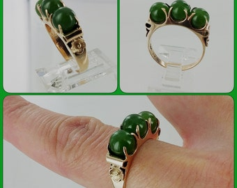 Jade 10k Civil War Era Handcarved Ring Sz 6.25