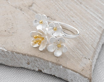 Handmade, Brushed Sterling Silver and 18k Gold Plate Flower Bouquet Ring