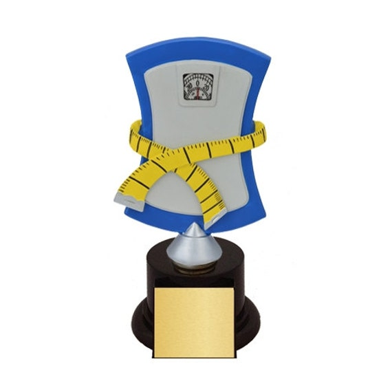 Weight Loss Scale Biggest Loser Trophies with 4 lines of
