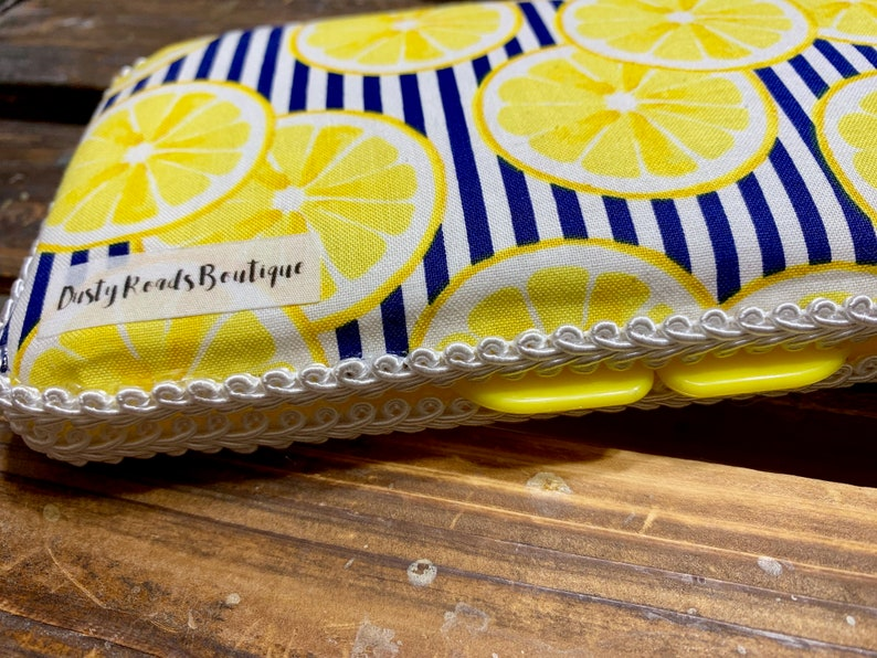 Navy and Yellow Lemons Custom Travel Baby Wipe Case Pattern