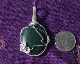 BloodStone - Silver Wire Wrapped Pendant