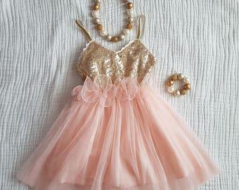 Baby Girl Peach Birthday Sleeveless Dress 45258fe7b416