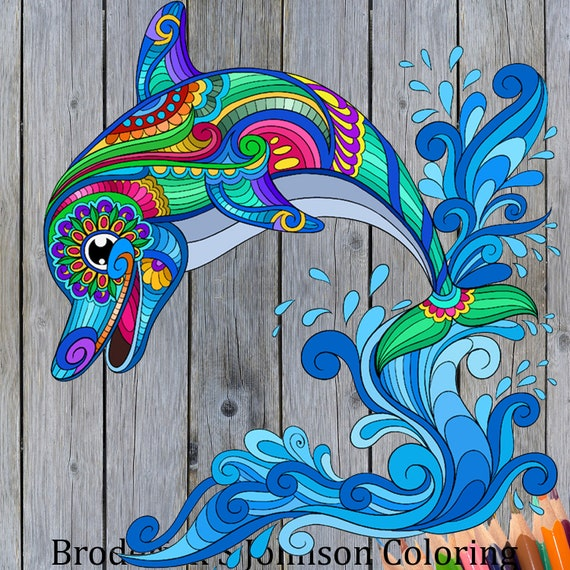 Dolphin Coloring Page For Adults Designs For Colouring Calm Relaxation And Stress Relief Instant Download Printable Pdf Pages