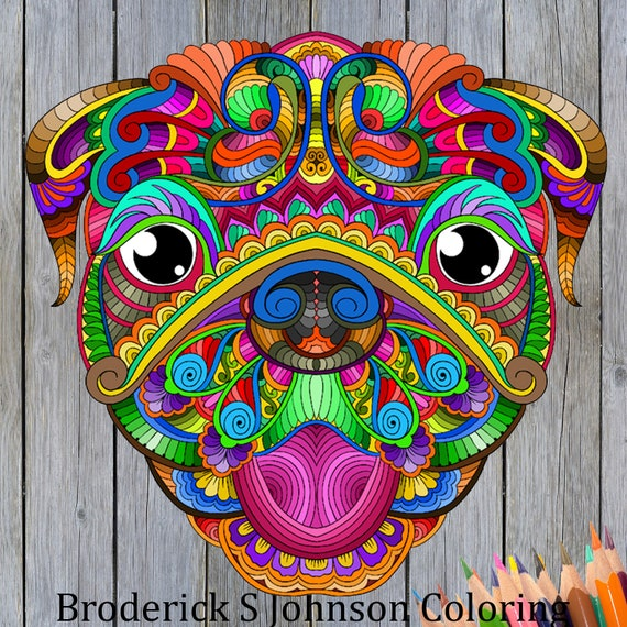 Pug Dog Coloring Page For Adults | Designs For Colouring Calm, Relaxation and Stress Relief | Instant Download Printable PDF Pages