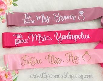 Bride Sash, Bridal Sash, Bachelorette Sash, Bride to be Sash, Mrs Sash, Future Mrs Sash, Glitter Sash, Bachelorette Party, Bridal Party Sash