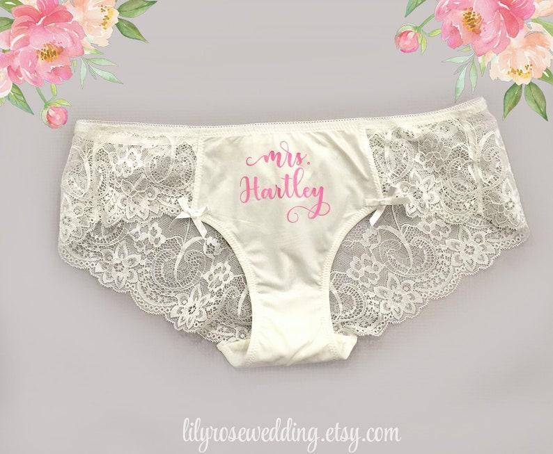 e6f5da707 Personalized Lingerie Bride Panties Bridal Shower Gift