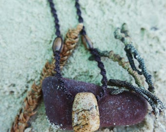 Macrame hemp necklace with Picture Jasper