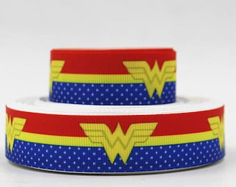 "Wonder Women Grosgrain 7/8"" Printed Ribbon, Super Hero Ribbon"
