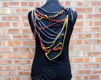 Handmade tank top with decorative opened back and fabric strips