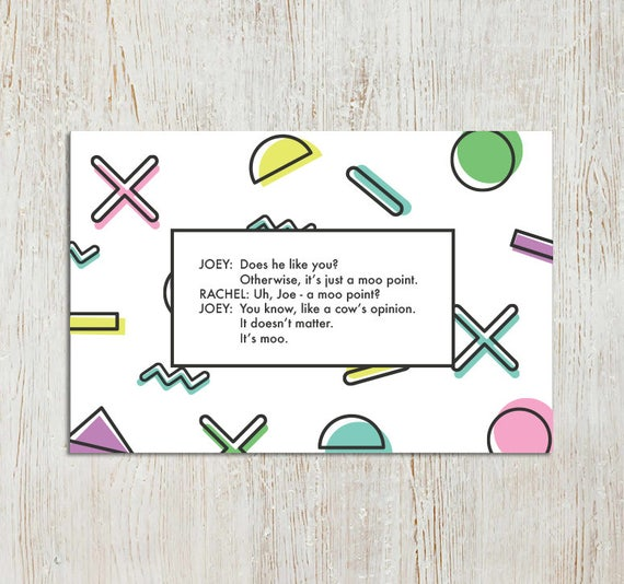 friends tv show quotes printable set of x cards just