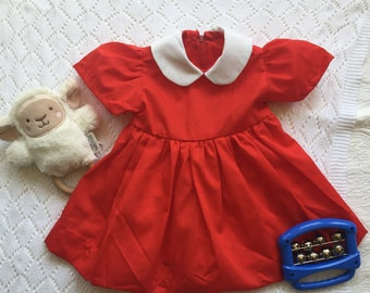 Vintage Red Summer Baby Girl's Dress with Peter Pan Collar and Puff Sleeves Handmade 6M
