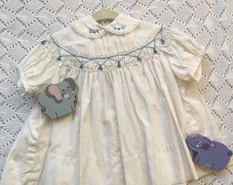 297ed460bda81e Vintage Smocked Baby Dress   Peter Pan Collar with Lace and Embroidery   Heirloom  Dress   Size NB Easter Dress 1950s
