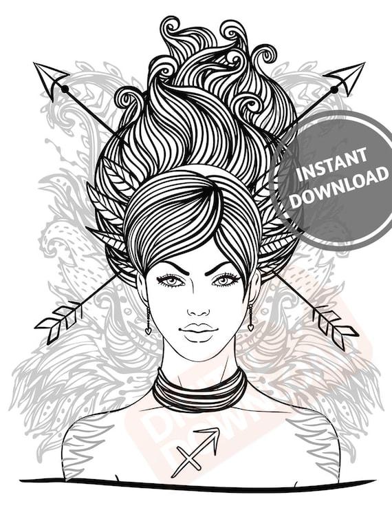 Sagittarius Girl Printable Coloring Adult Colouring Etsy