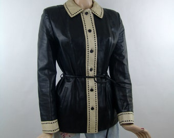 Leather jacket with beautiful detailing, size 36/S/small, vintage women's jacket 1990's fashion, chanel style