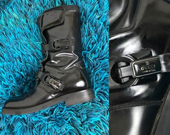 68e89a3a2 GUCCI by Tom Ford biker / motorcycle patent leather boots in size EUR 38,5,  very rare model, 1990's vintage designer shoes