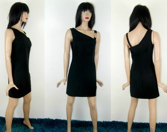 lil' SASSY DRESS on one shoulder with detailing, mini black dress, 1990's vintage womens fashion