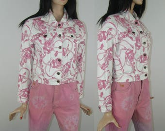 Denim jacket with pink barocco abstract print, 1990's womens vintage fashion, XS/S/M