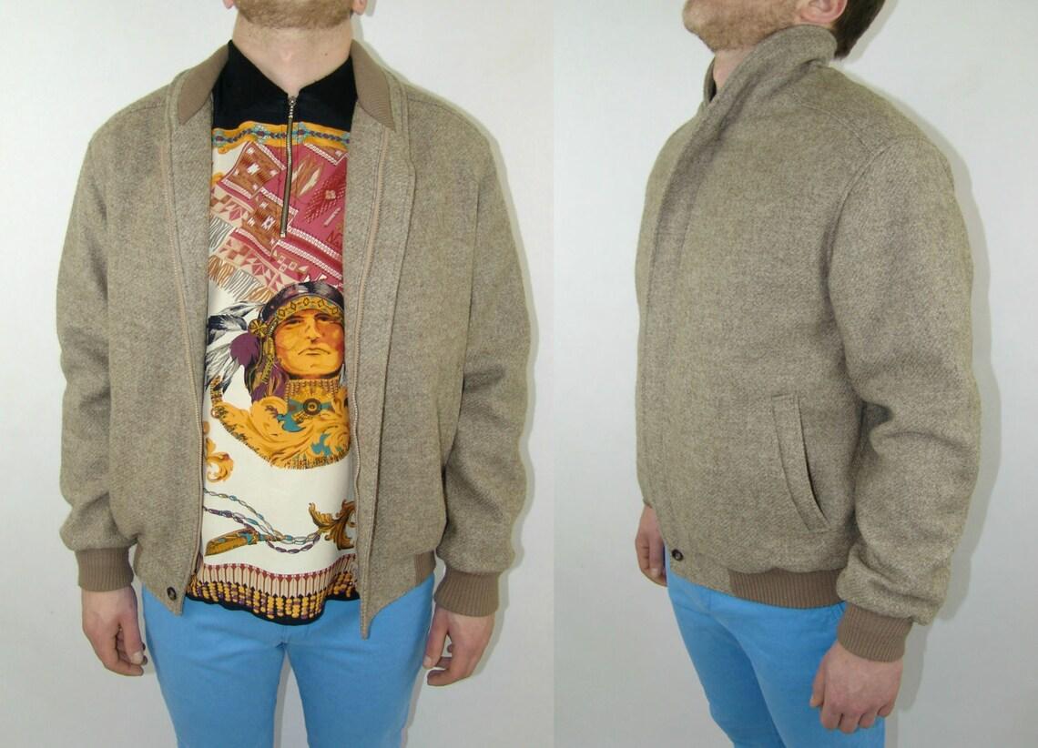 100 % Wool Men's Coat Jacket, Beige Color, 2 Pockets, Vintage Jacket Slim Fit, Size 54 (m/l), Zipper Closing, High Neck, 1990's