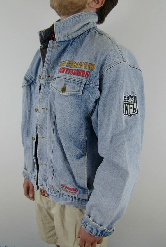 Francisco forty records jacket 1990's players San jacket official names NFL campri with 49ers leaders passin embroidered denim player niners d1ZSxn