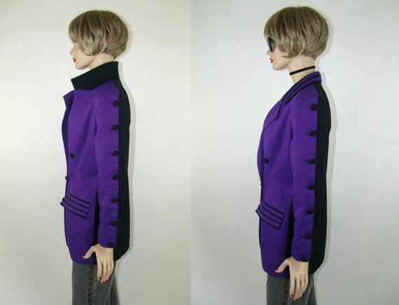 detailing with black button vintage colored 1980's two back detail with button purple Purple blazer rare front jacket 1AqvtRxw
