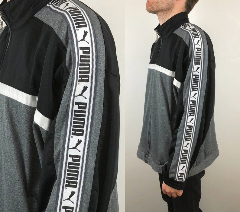 5a0e51e0 PUMA track jacket with logo tape on sleeves, black and white with pockets,  1990's vintage oversize sports wear