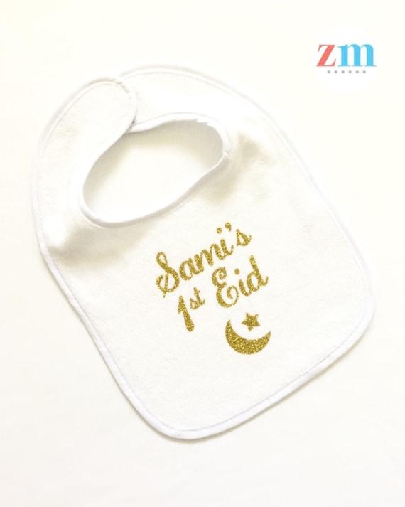 FIRST EID PERSONALISED BABY BIB FUNNY CUTE CUSTOM GIFT BOYS GIRLS