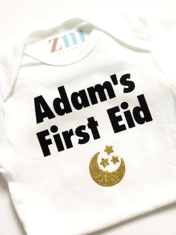 Personalised Name It/'s My First Eid Mubarak Arabic Baby Bodysuit Baby Vest