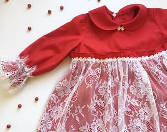 Lace Flower Girl dress- Flower Girl Dresses Red Dress Long Sleeve Baby Toddler Birthday Dress