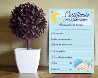 Birth certificate designed for the baby boy (spanish)