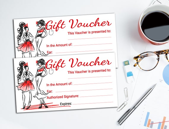 gift card voucher printable voucher fashion sewing etsy